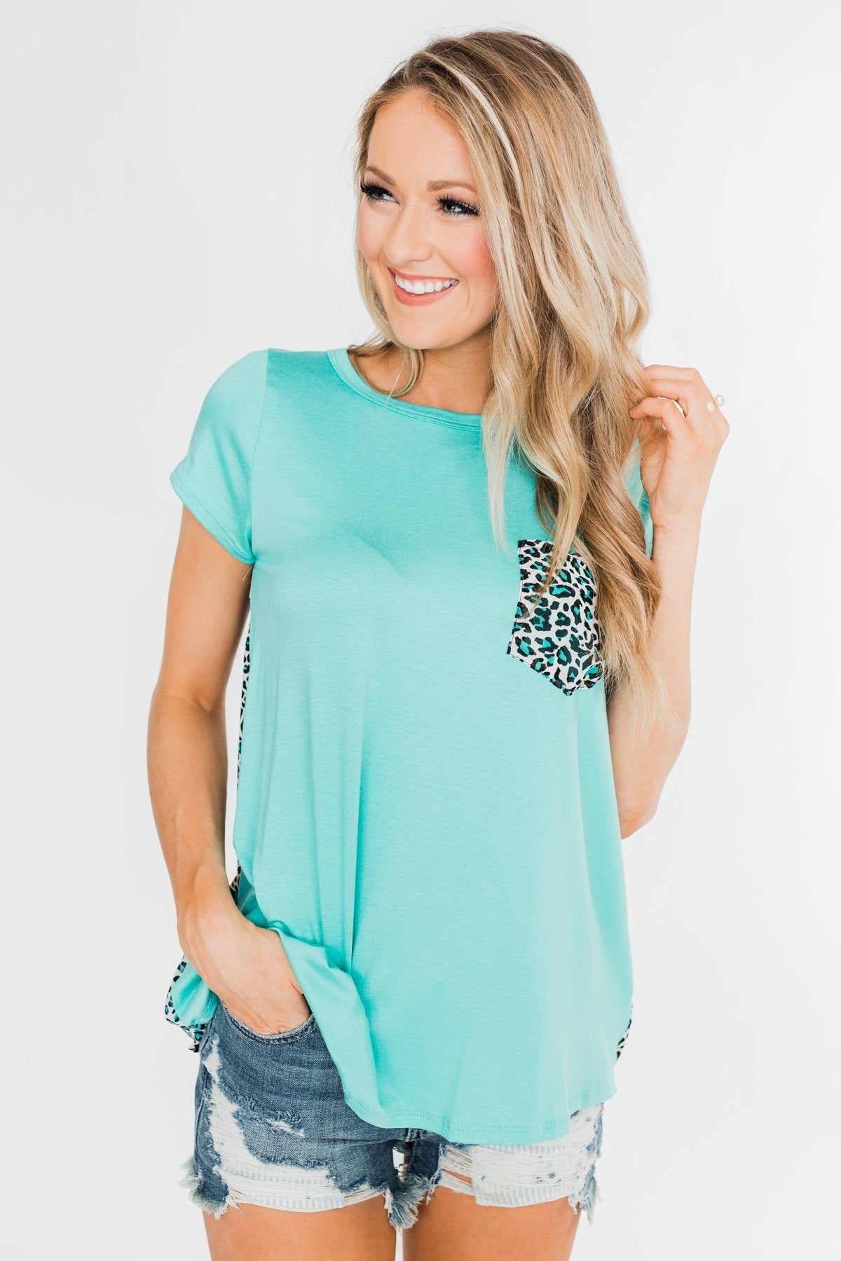 Feeling Fierce Leopard Pocket Top- Aqua