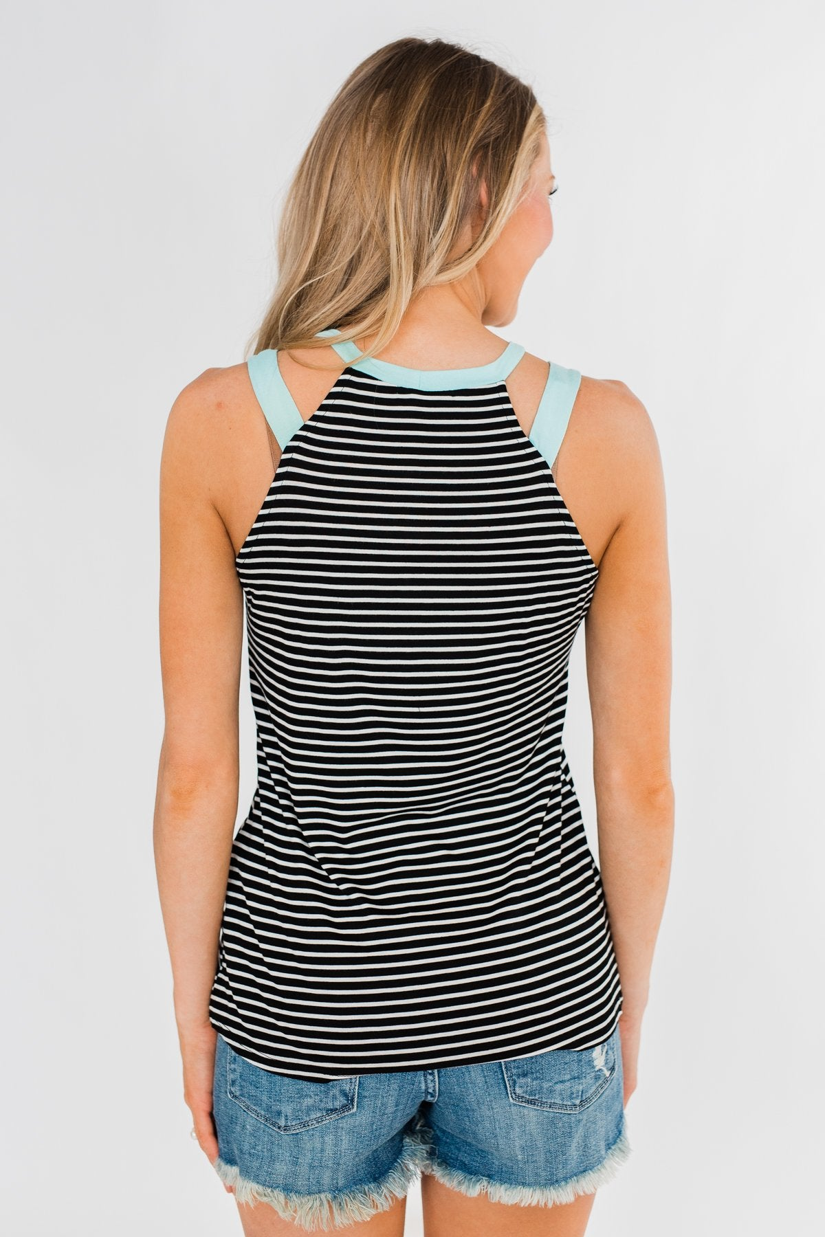 All I Need Striped Tank Top- Aqua & Black