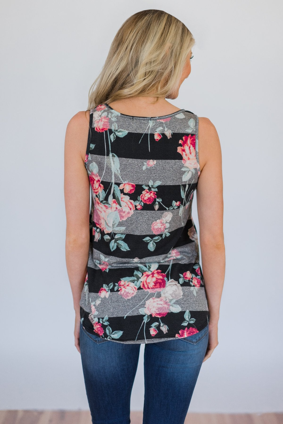 Stay A Little Longer Floral Tank Top- Black