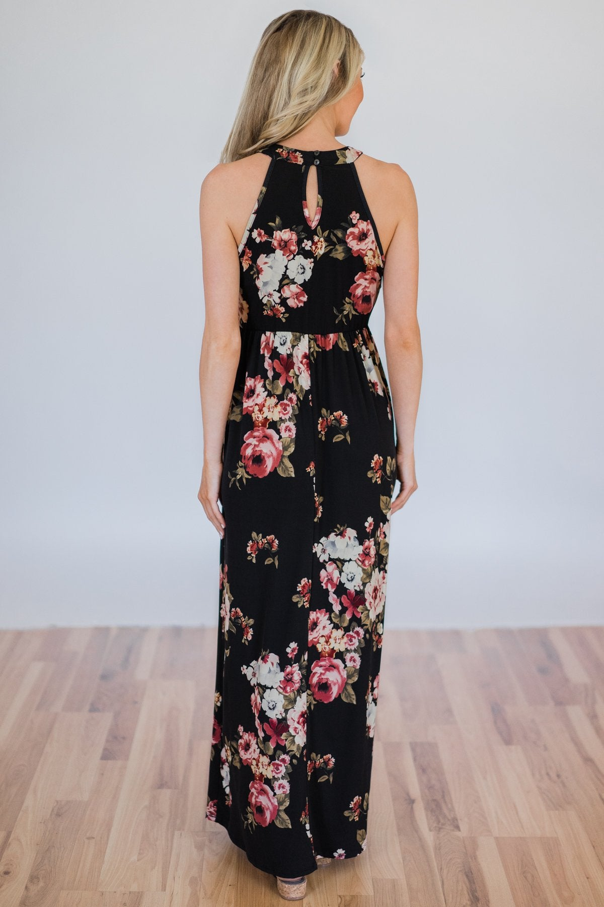 568dc3bbb51 Tonight s the Night Floral Halter Maxi Dress- Black – The Pulse Boutique
