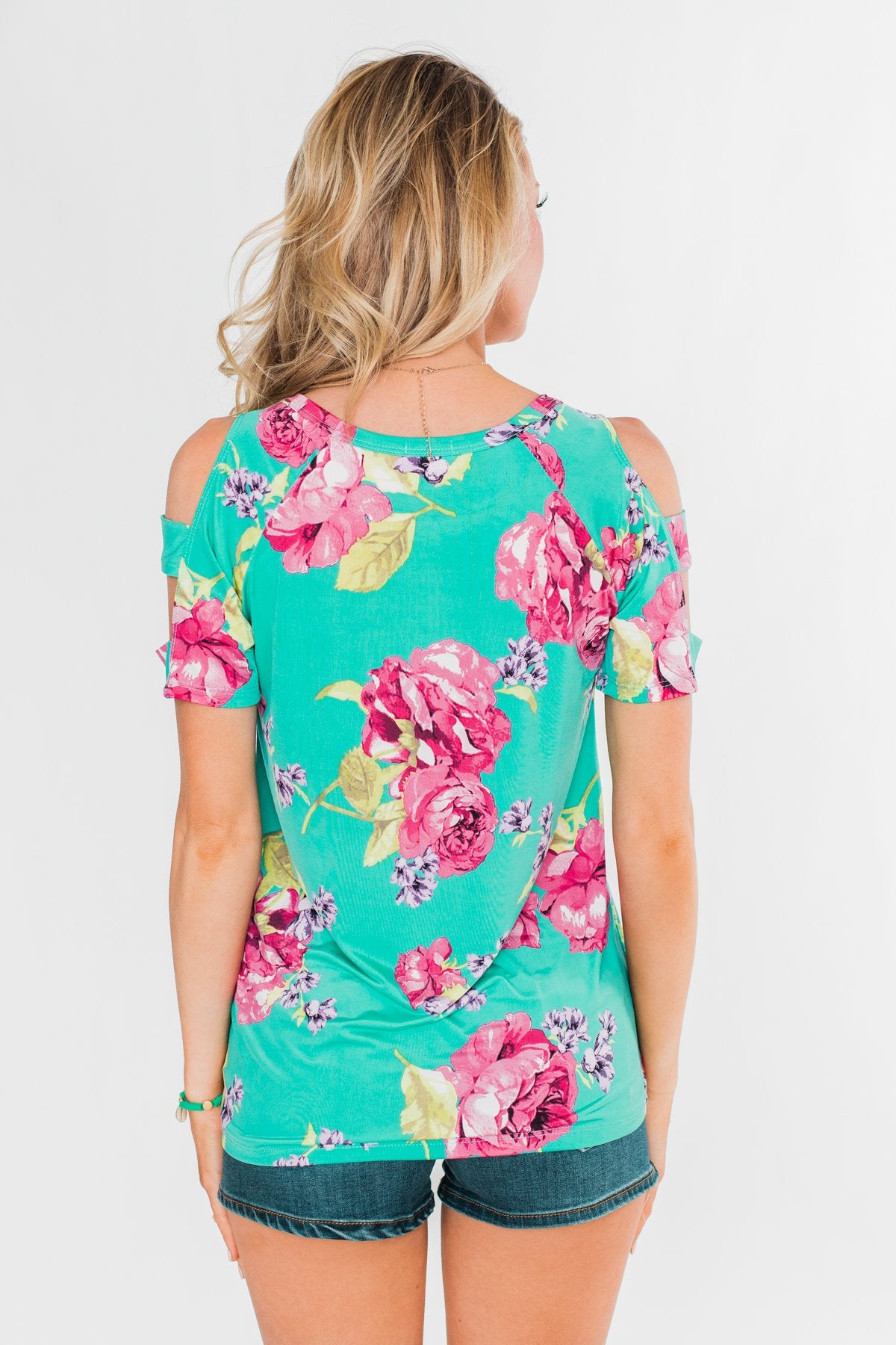 Under The Sun Cold Shoulder Floral Top- Light Teal