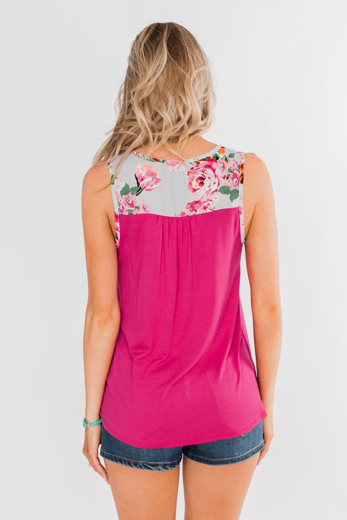 Listen To Your Heart Floral Tank Top- Fuchsia