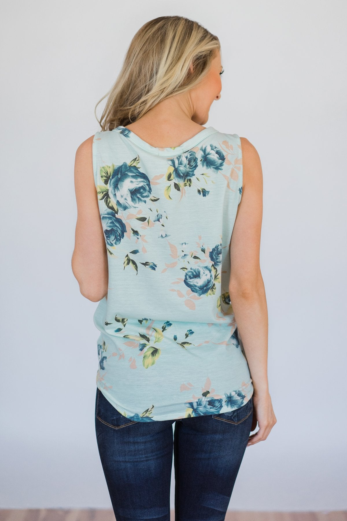 Touch the Sky Floral Tie Tank Top- Mint