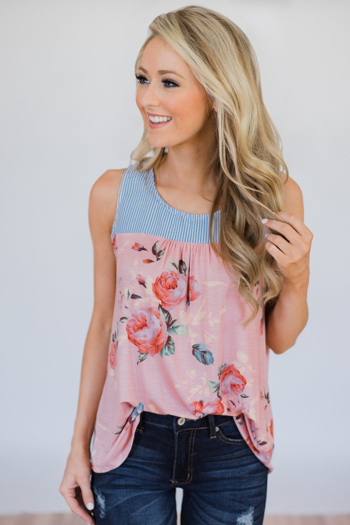 Stroll Through the Park Floral & Stripe Tank Top- Rose Pink