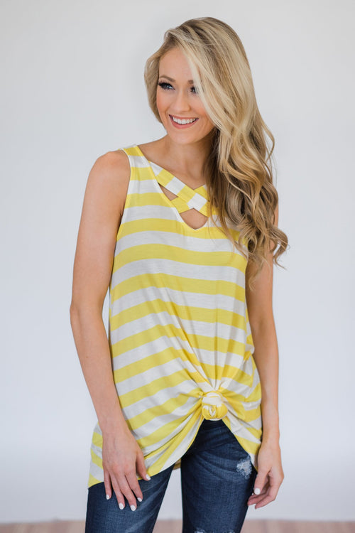 You Make Me Happy Striped Tunic Tank Top- Yellow