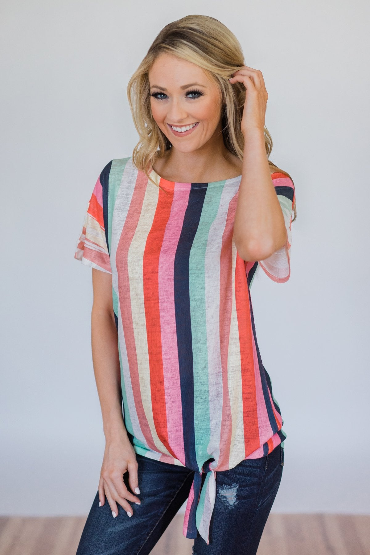 Color Happy Tie Top