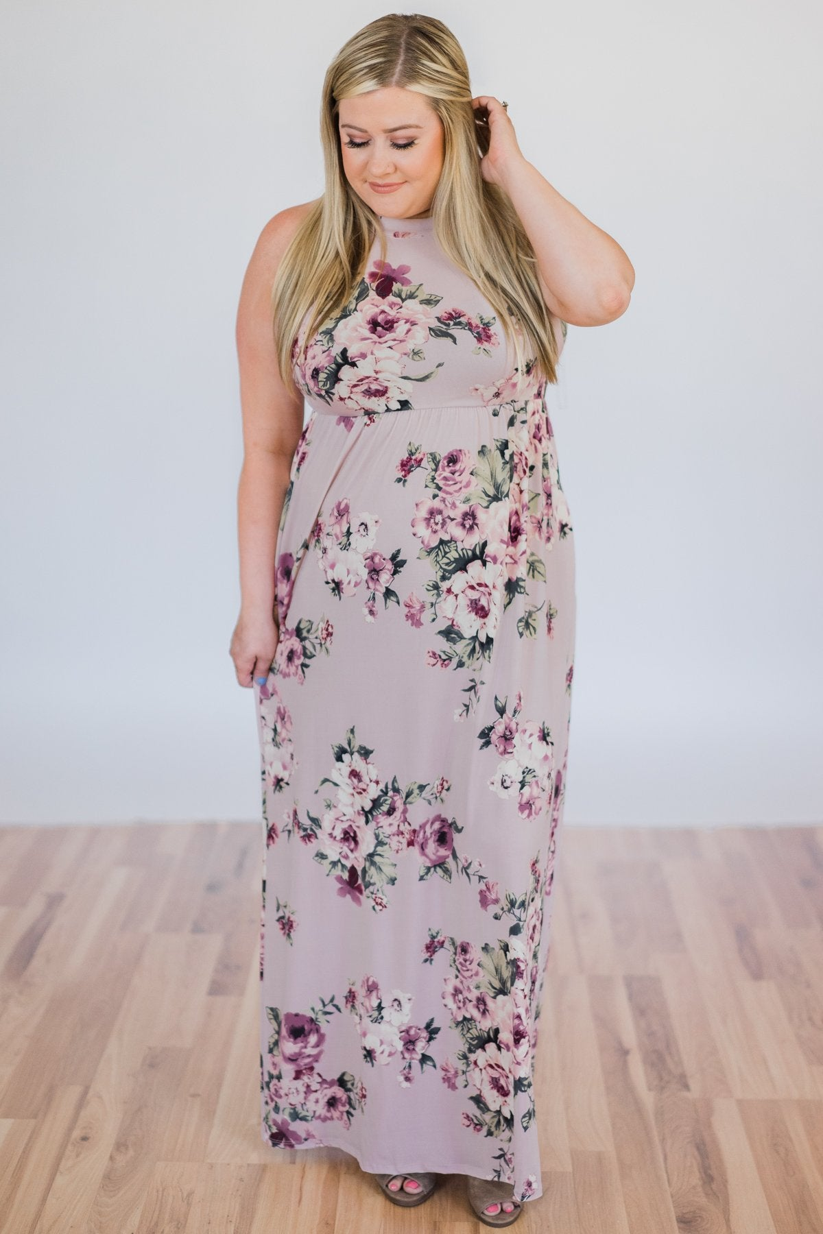 bcb76e6d72e Tonight s the Night Floral Halter Maxi Dress- Light Mauve – The ...
