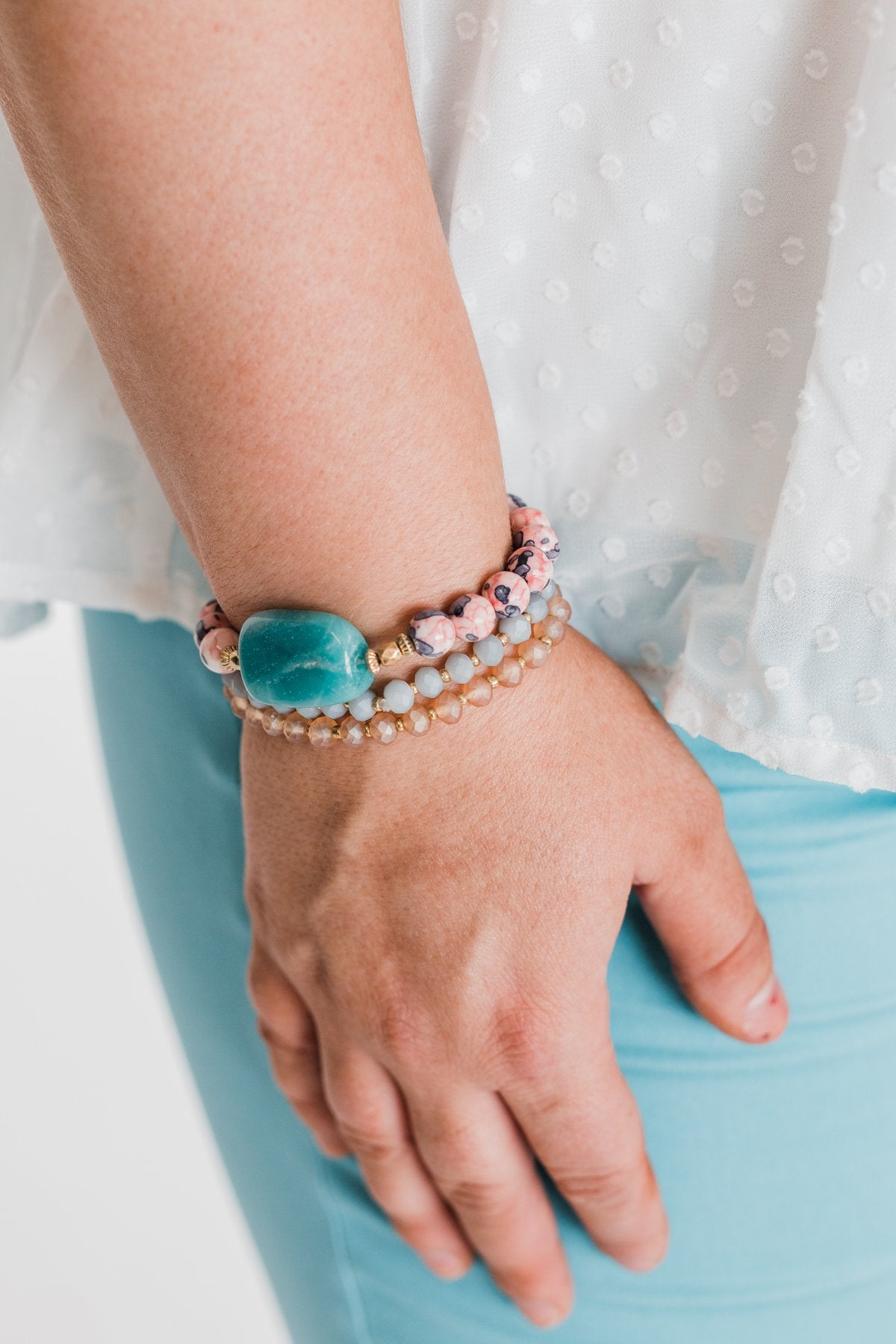3 Layer Bracelet Stone Set- Pink & Jade