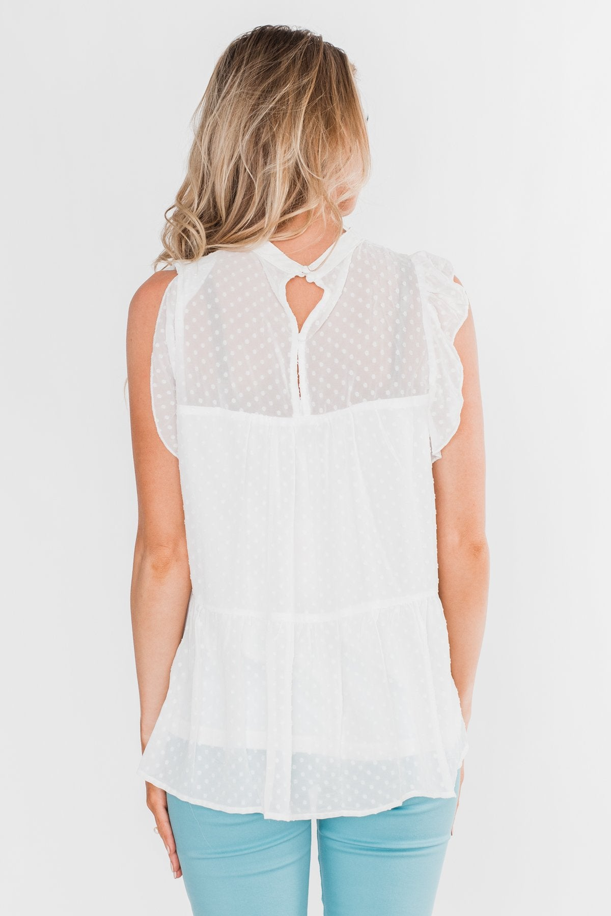 One & Only Lace Detail Sleeveless Top- White