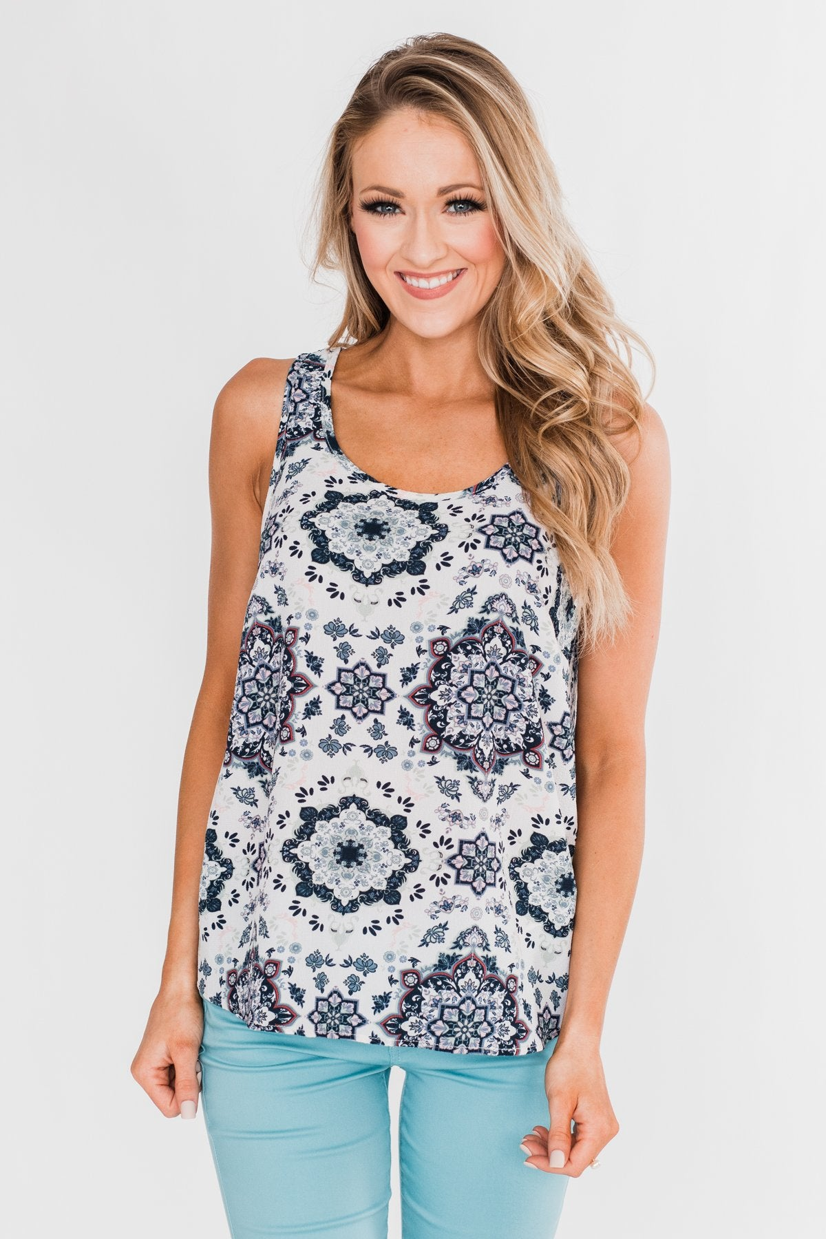 Not Giving Up Floral Tank Top- Ivory