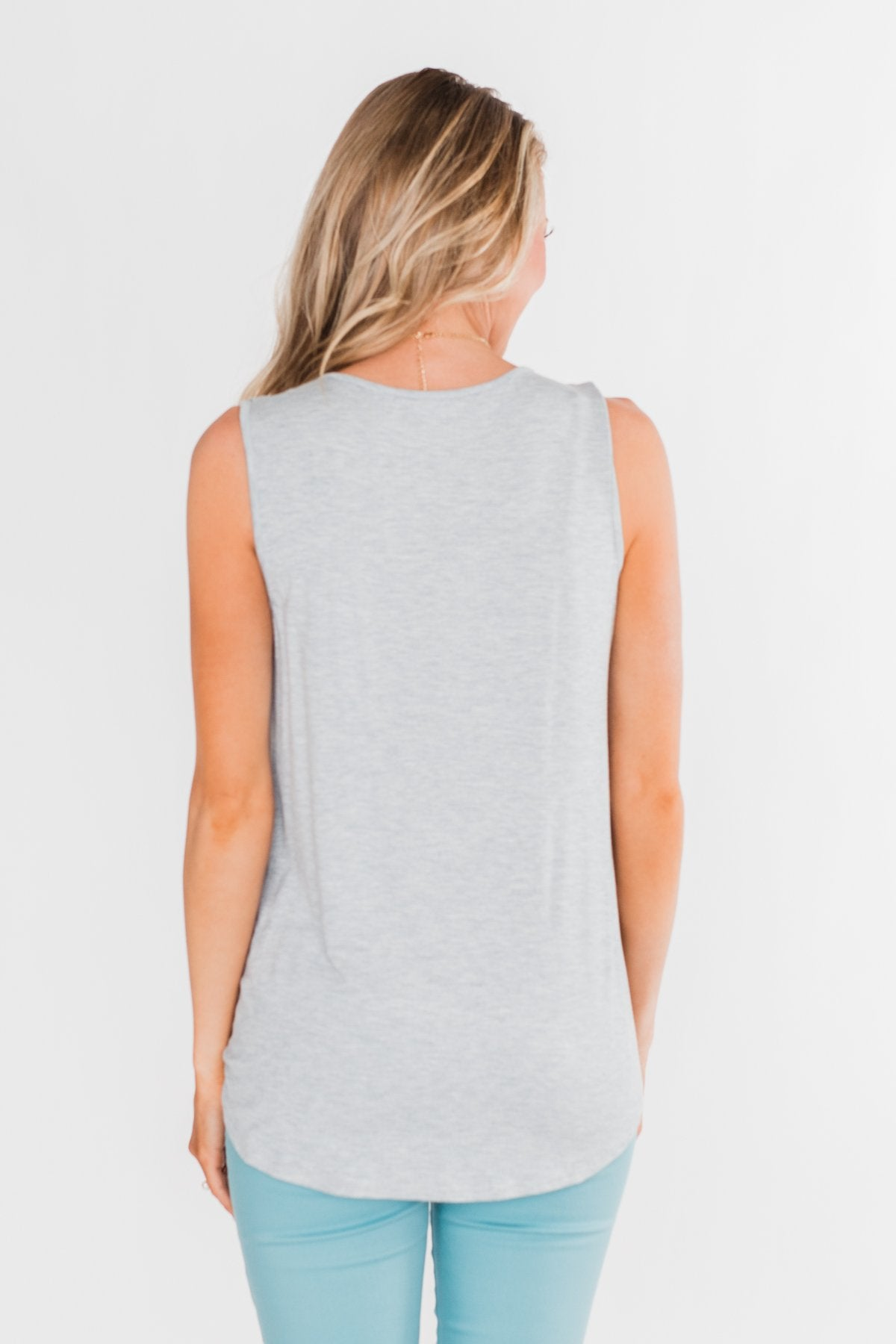 Comfy All Day Ruffle Tank Top- Denim
