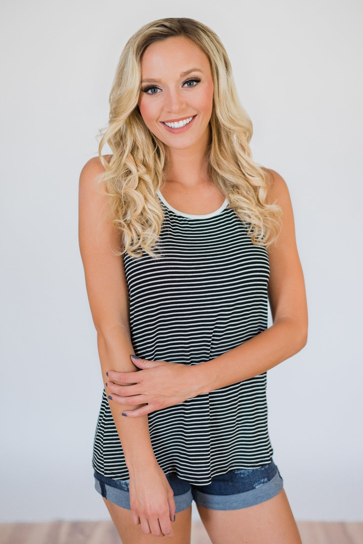 Casual Back Keyhole Striped Tank Top- Black & White