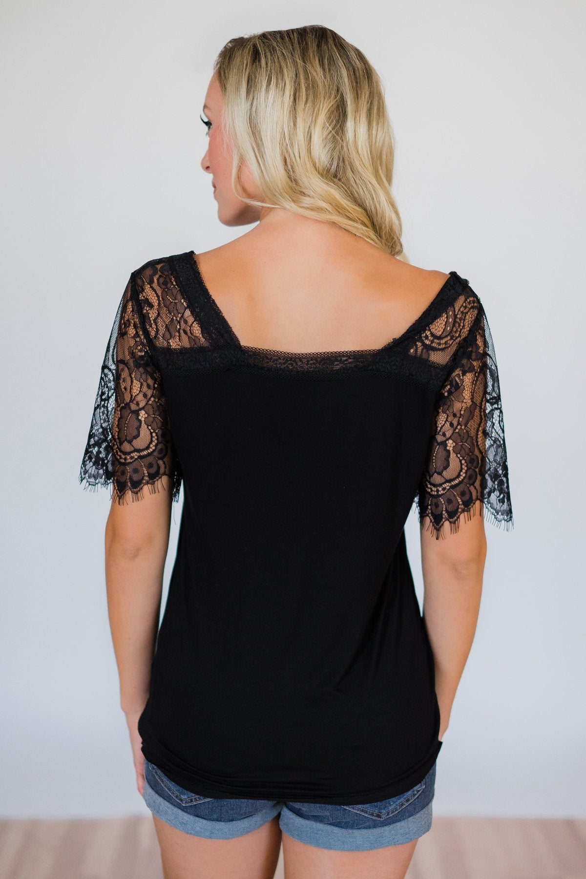 Flattering in Lace Top- Black