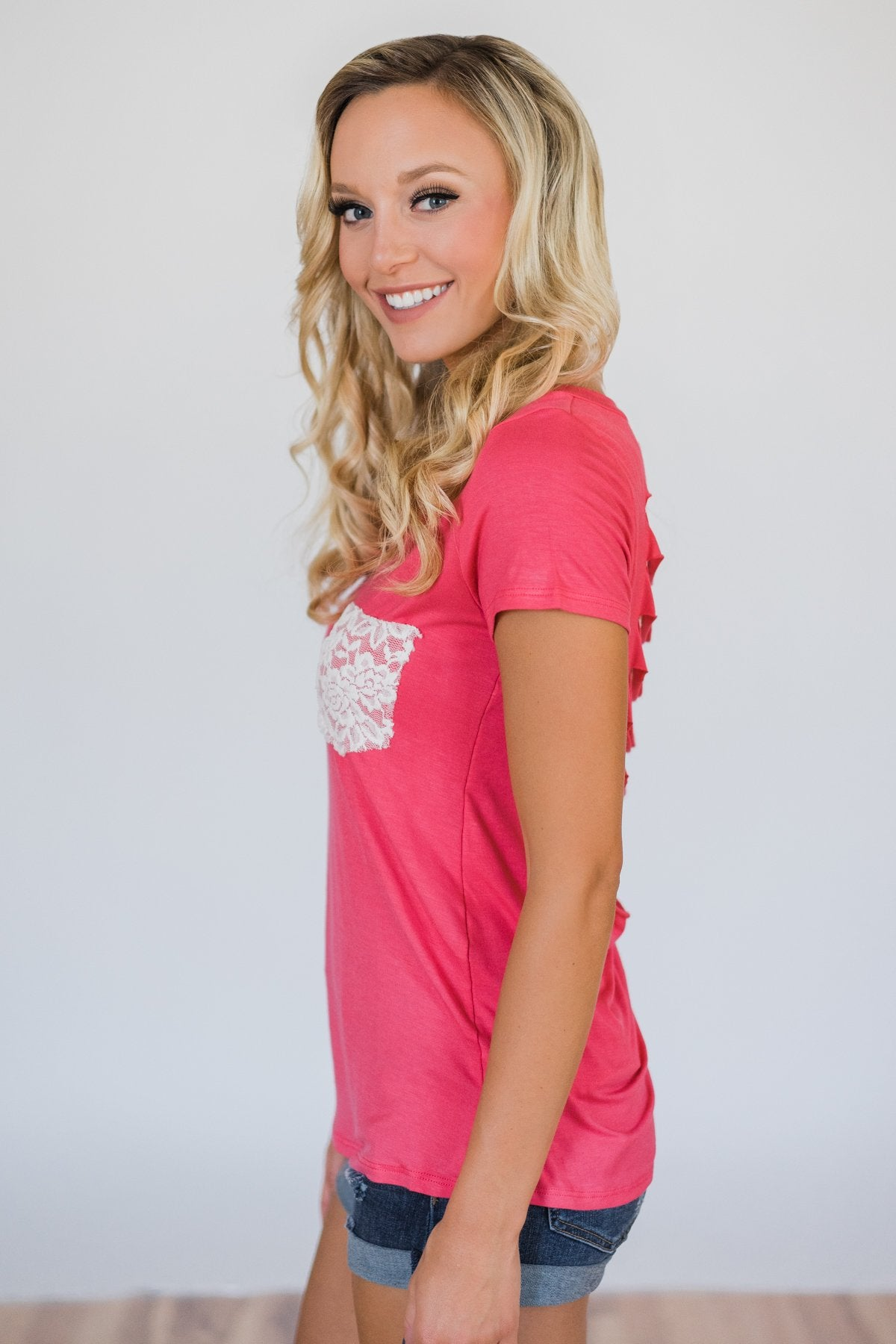 Torn Over You Lace Pocket Top- Watermelon