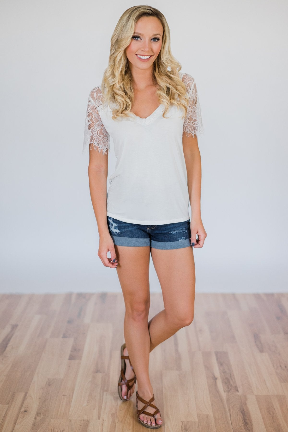 Flattering in Lace Top- Ivory