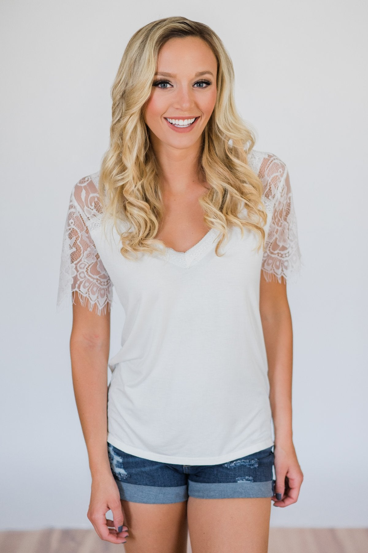 8ba79ebc5f043d Flattering in Lace Top- Ivory – The Pulse Boutique