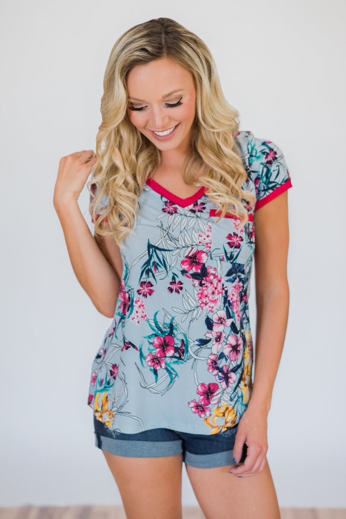 Work of Art Floral Pocket Top- Light Blue