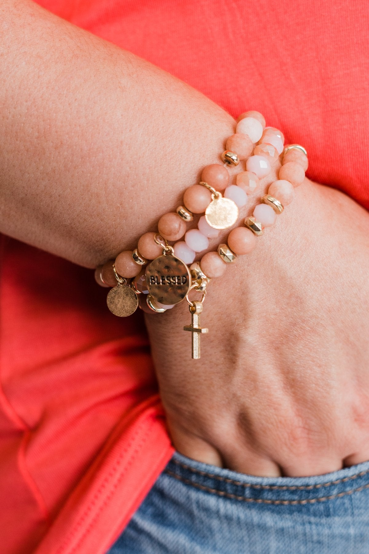 """Blessed"" 3 Piece Bracelet Set- Blush"