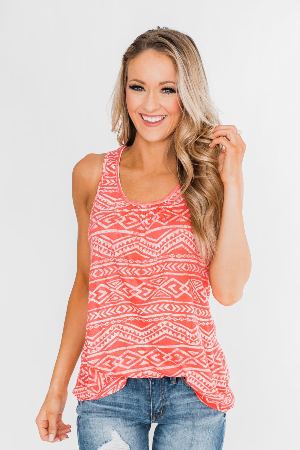 Doing Just Fine Aztec Tank Top- Coral