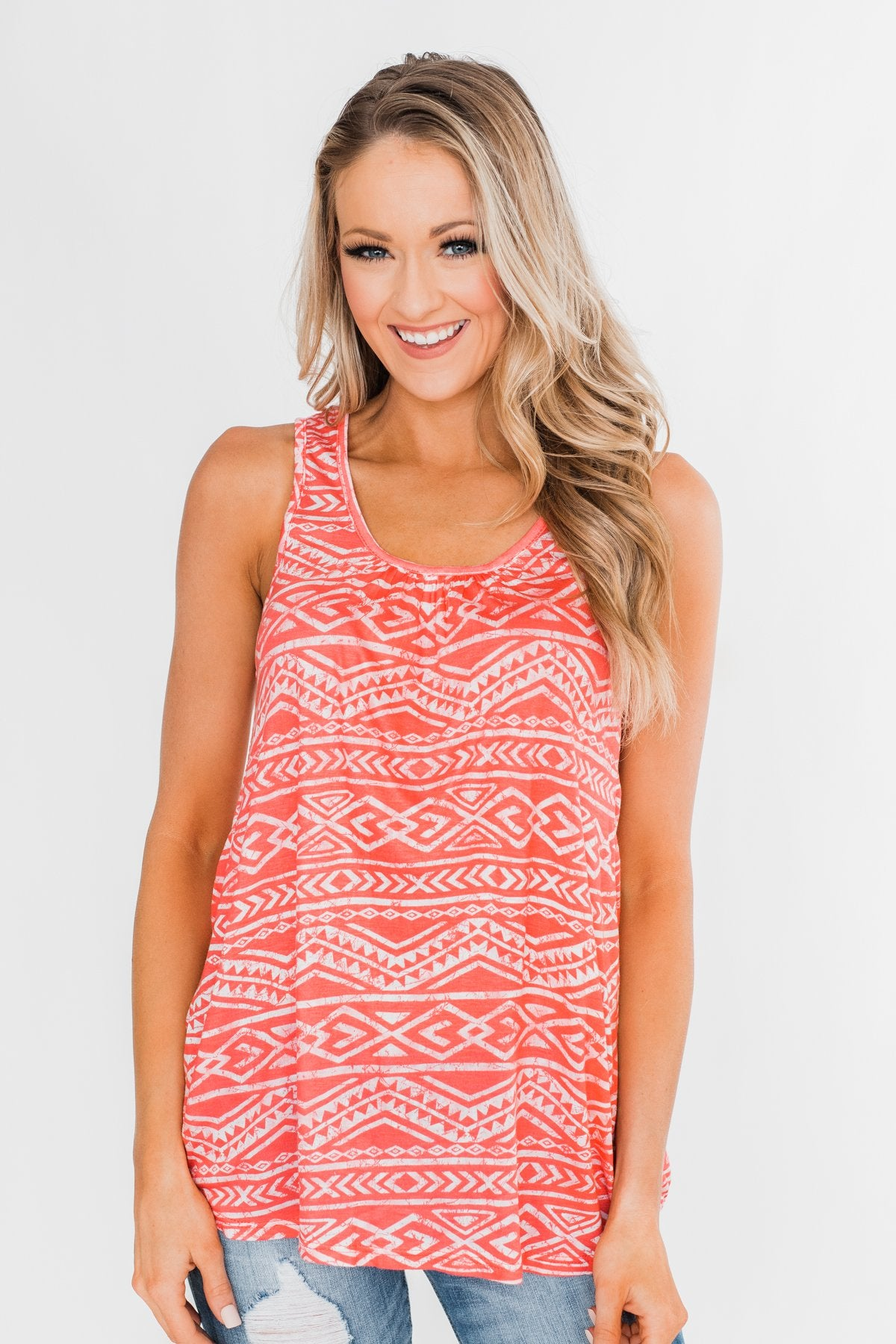 Fill My Days Lace Detailed Tank Top- Soft Coral