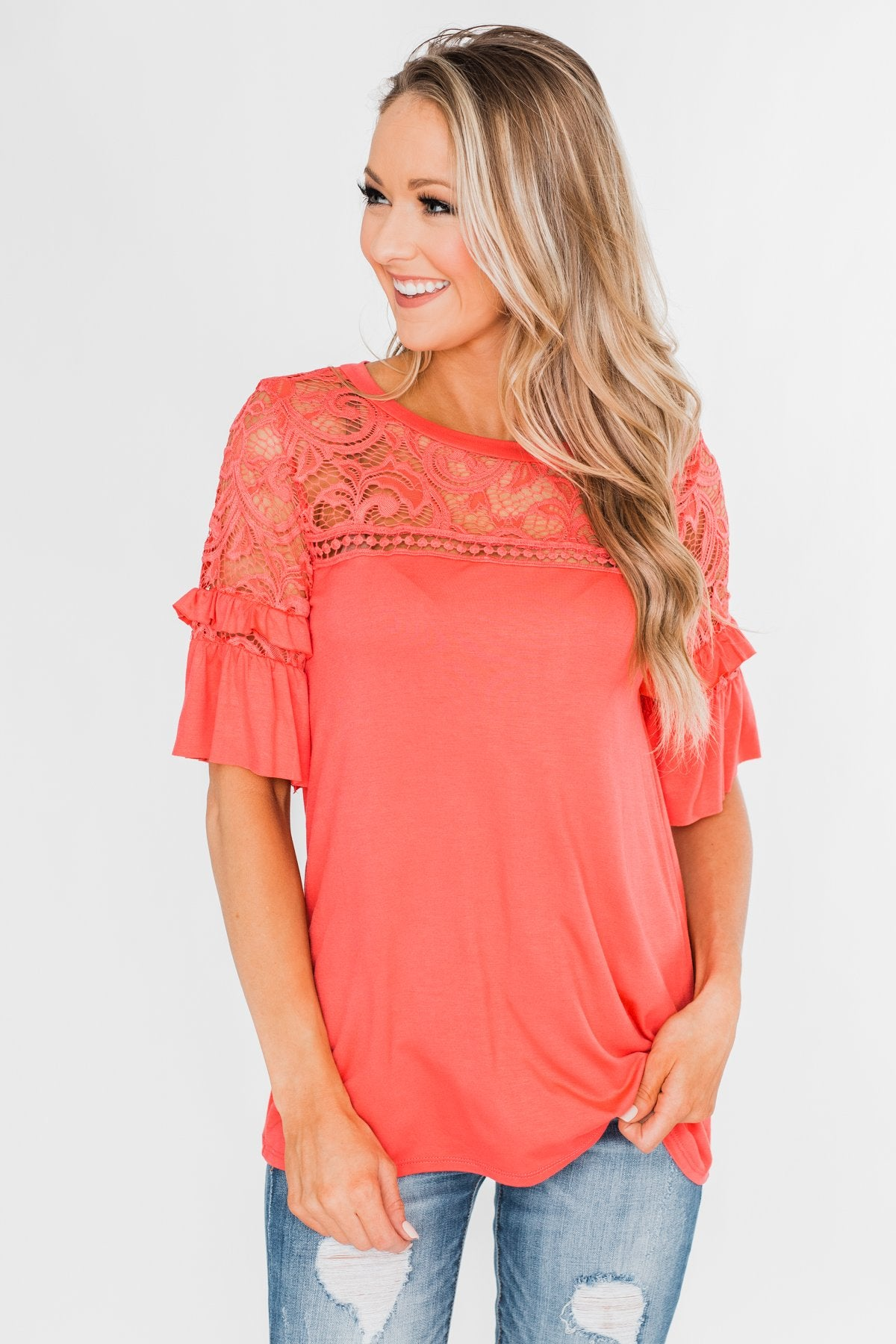 Part Of You Half Bell Sleeve Top- Coral