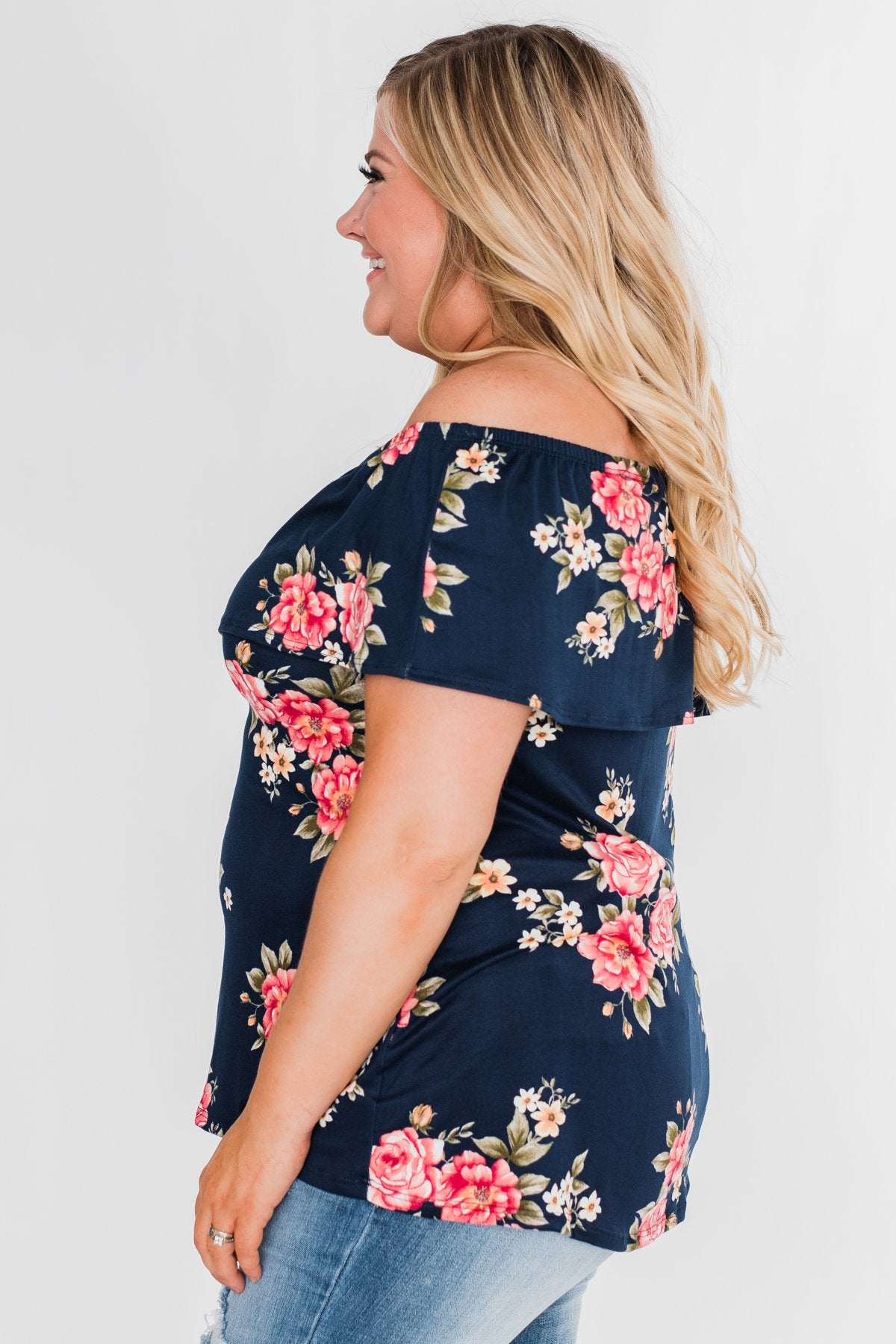 Island Beauty Off The Shoulder Floral Top- Navy