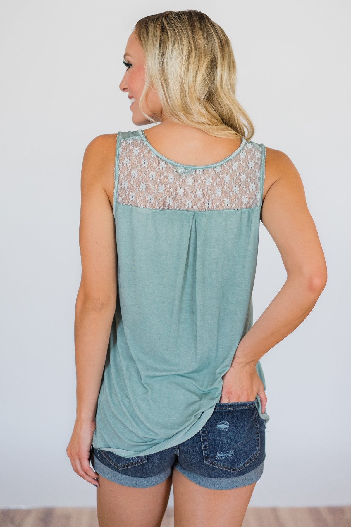 Best of my Days Lace & Zipper Tank Top- Vintage Sea Foam