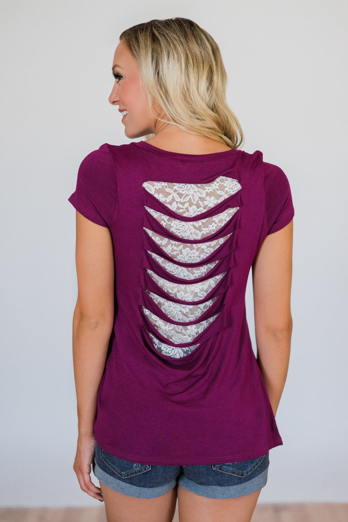 Torn Over You Lace Pocket Top- Magenta