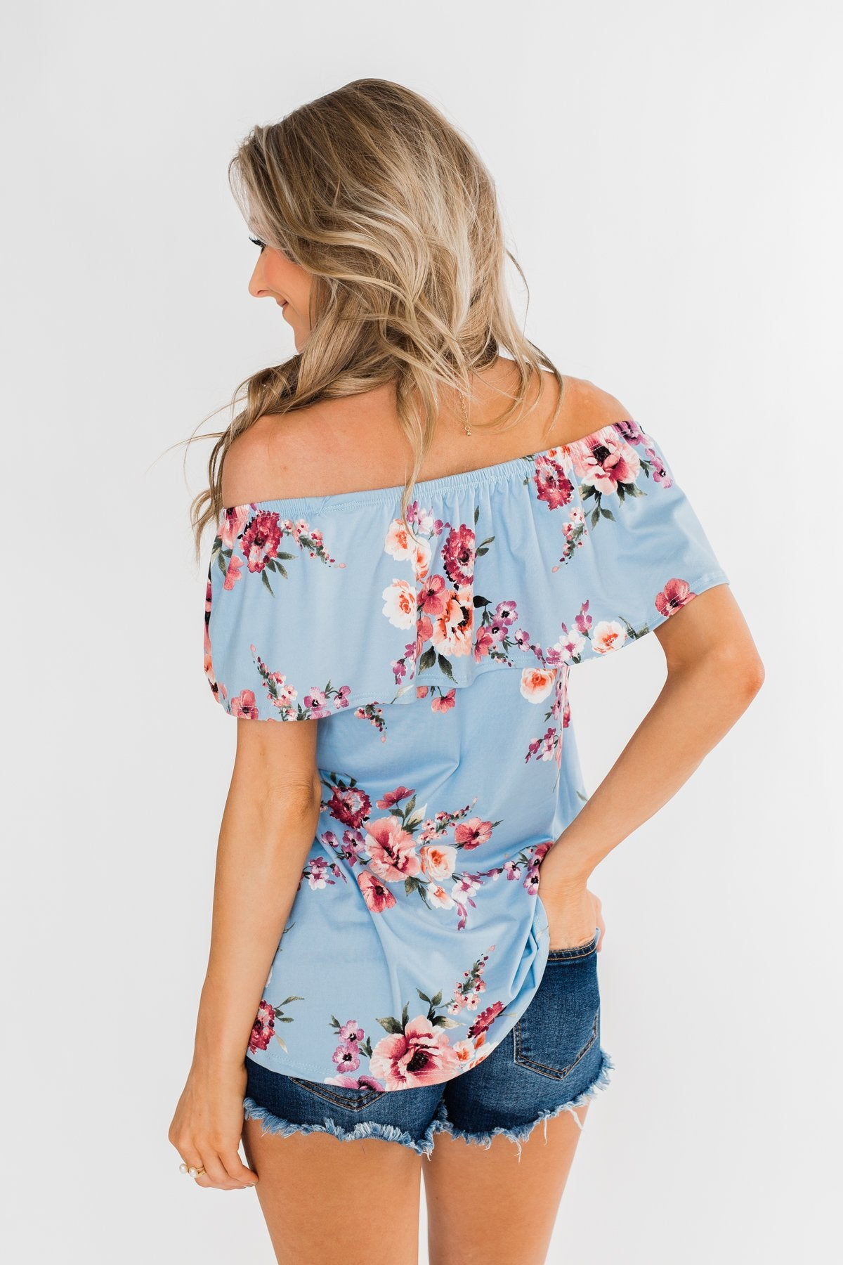Island Beauty Off The Shoulder Floral Top- Sky Blue