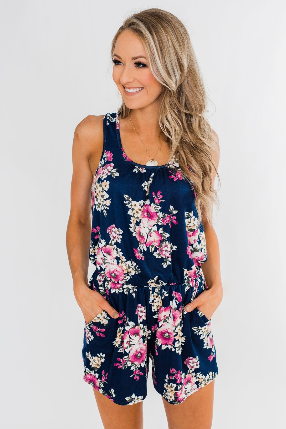 Keep My Love Floral Sleeveless Romper- Navy