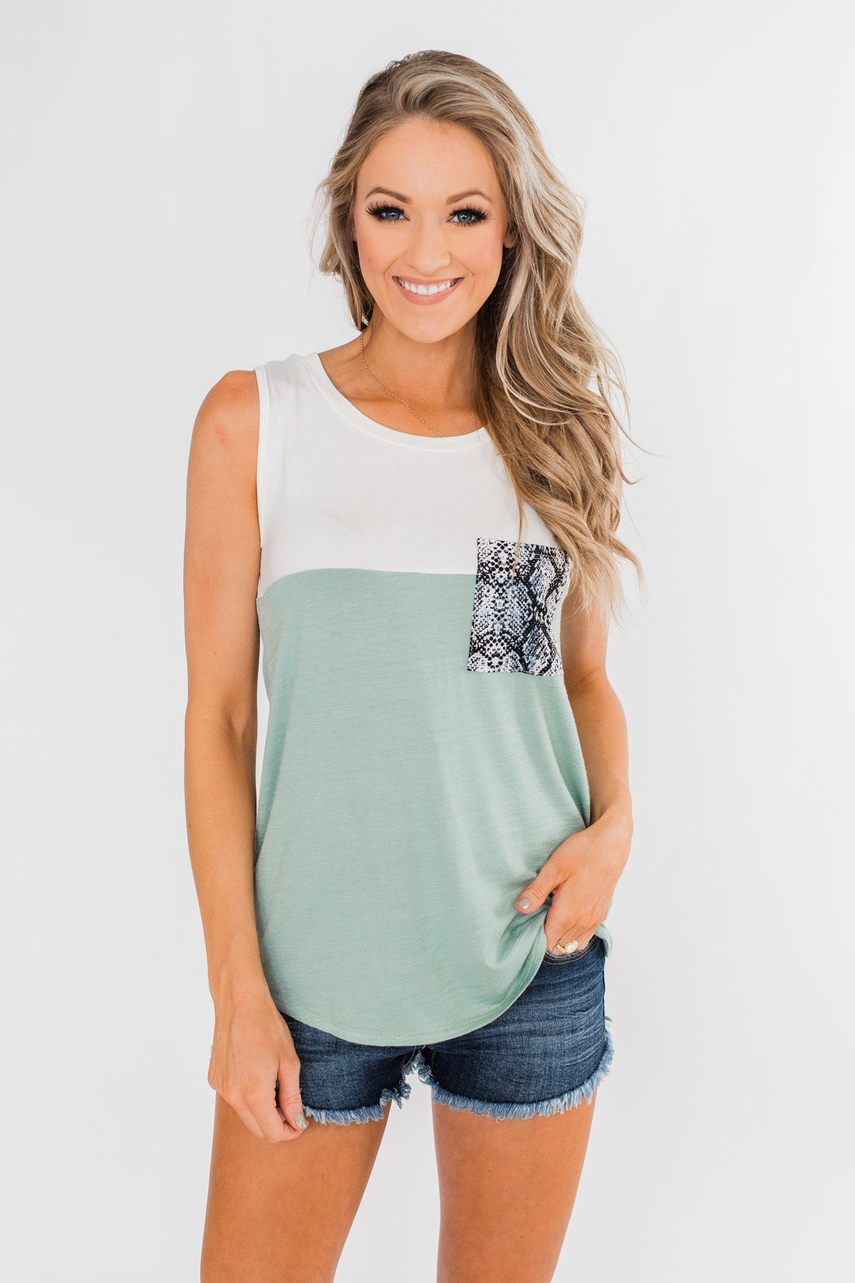 Have It All Color Block Tank Top- Slate Green