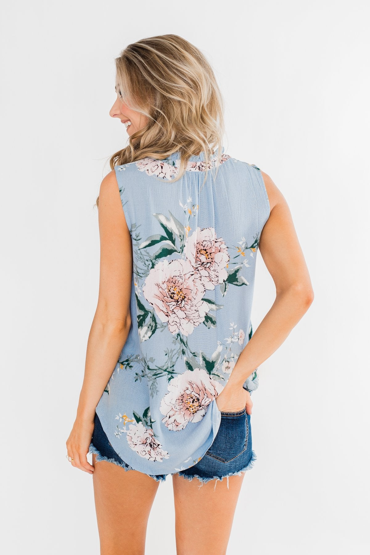 Sweet As Can Be Floral Tie Tank Top- Powder Blue
