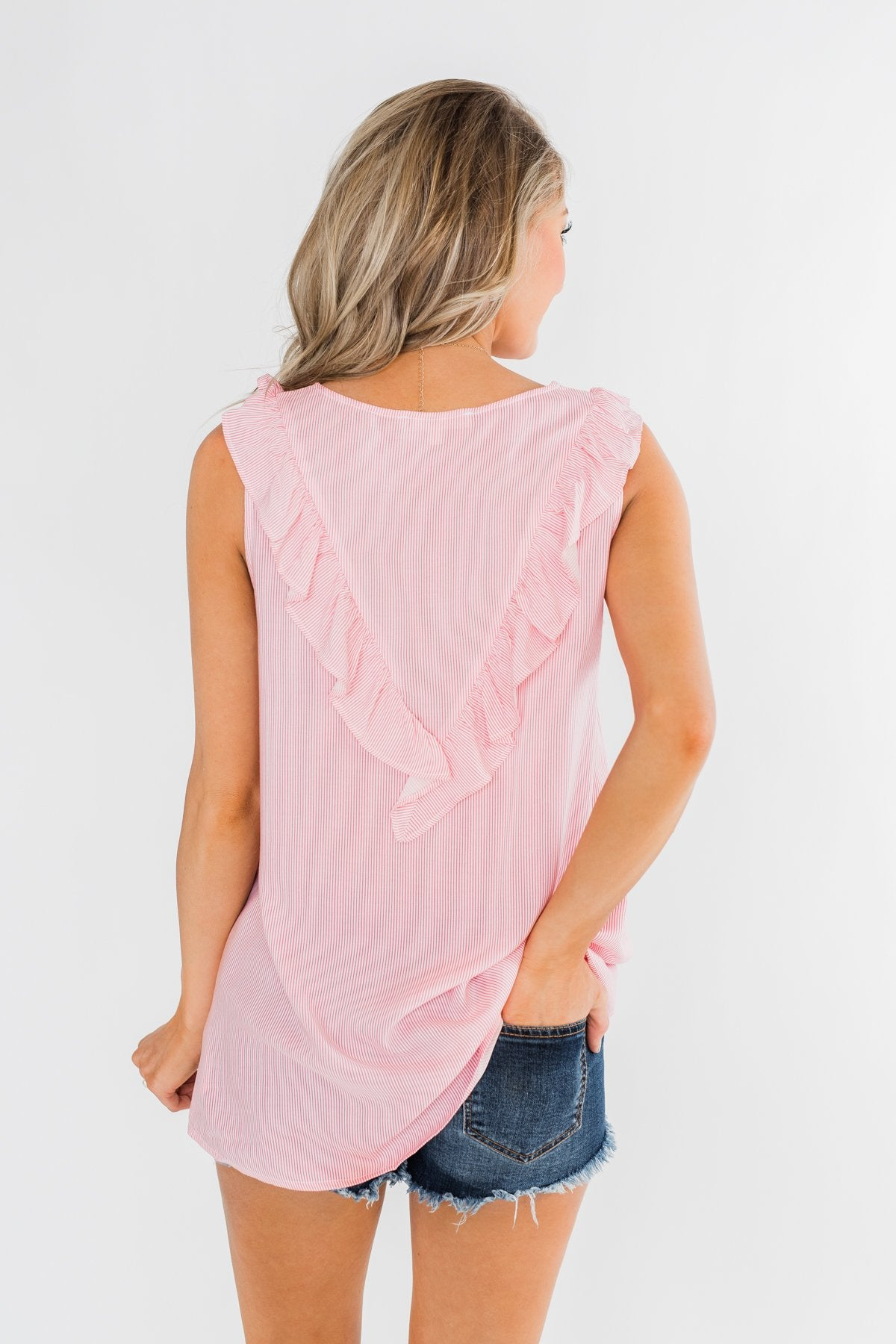 All Eyes On Me Striped Ruffle Tank Top- Pink