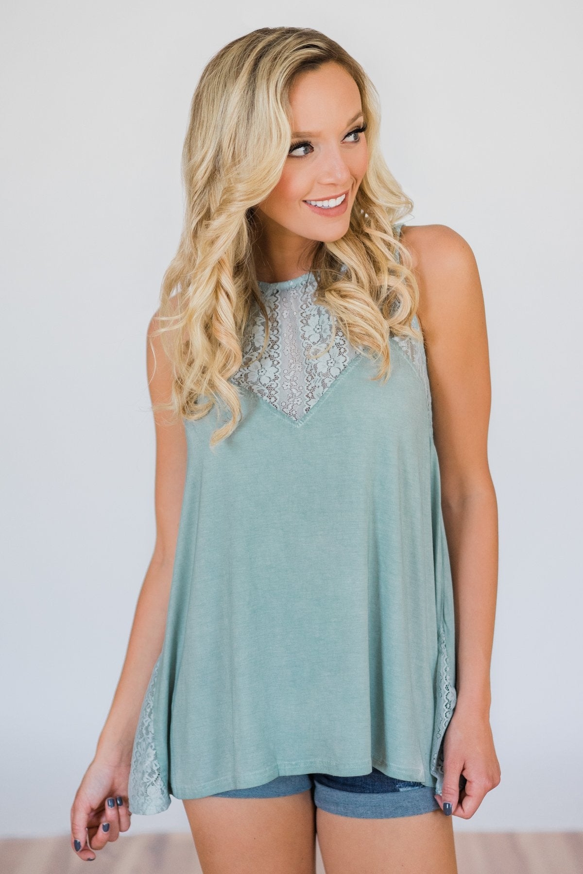 Be Near Me Lace Detail Tank Top- Vintage Sea Foam