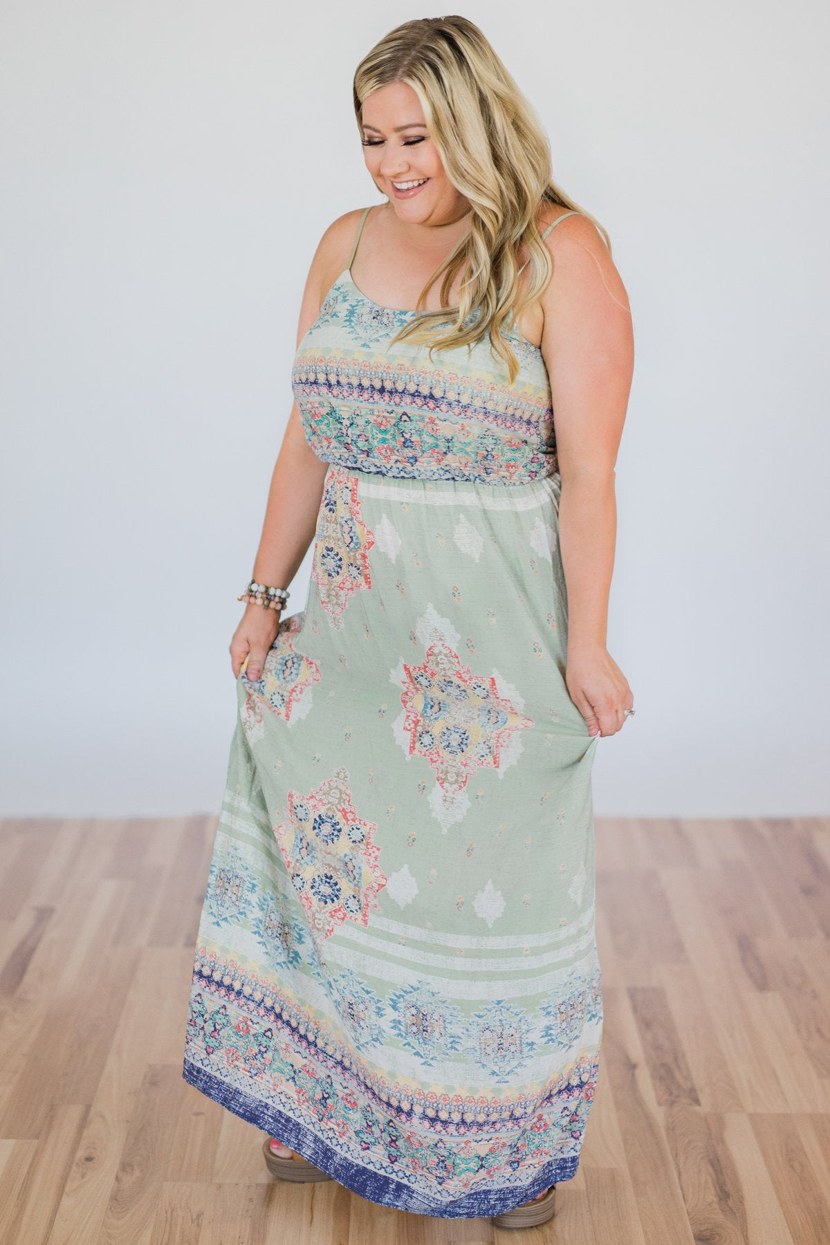 Aztec Beauty Maxi Dress- Sage