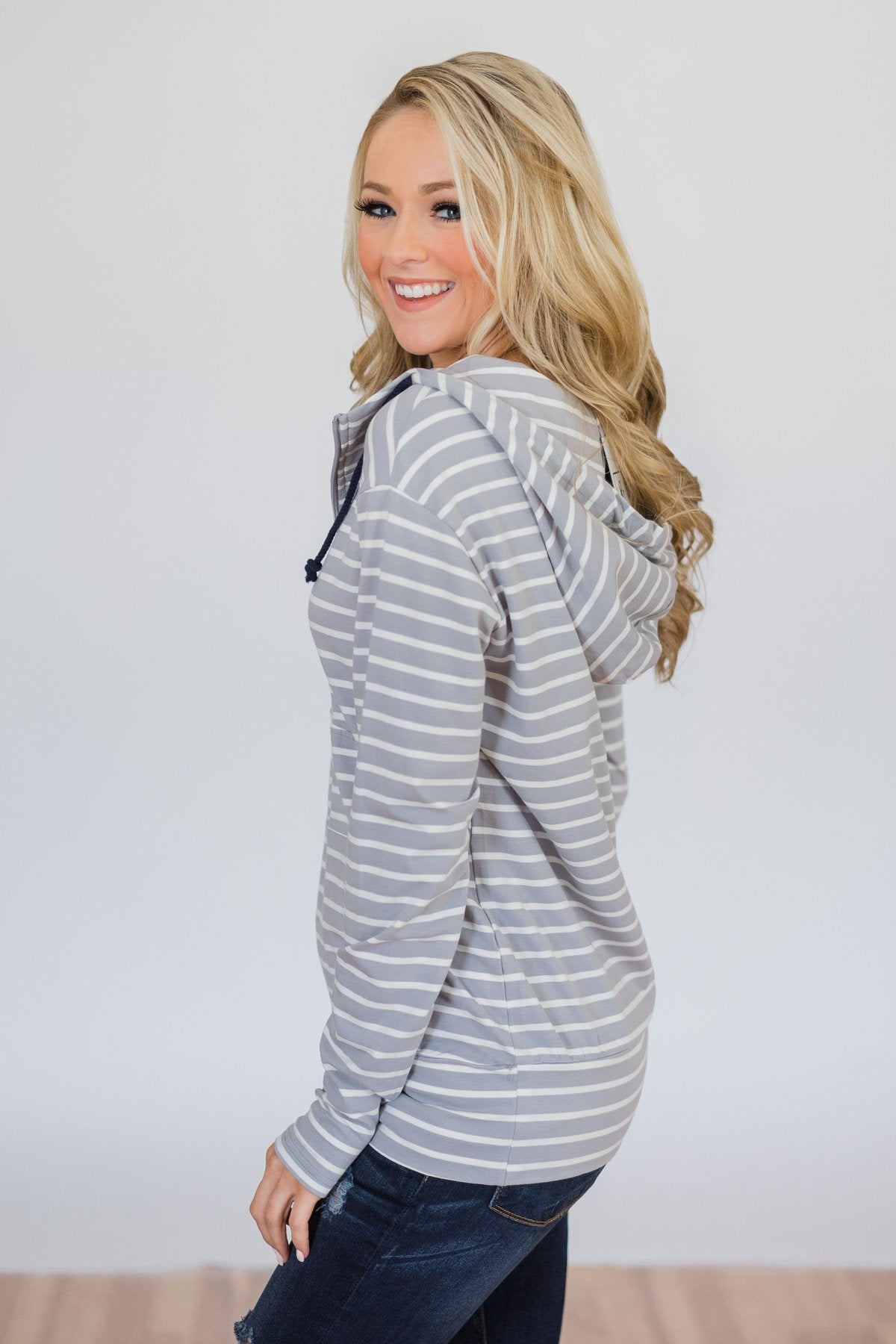 Half Zip Striped Ampersand Hoodie- Grey