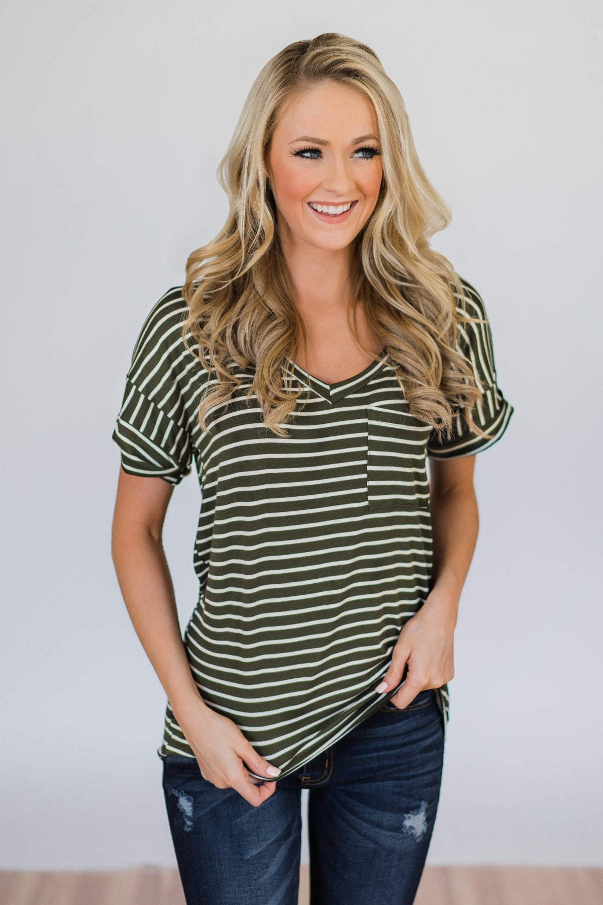2d441c3eaf6c1b The Perfect Striped Pocket Tee- Olive & White – The Pulse Boutique