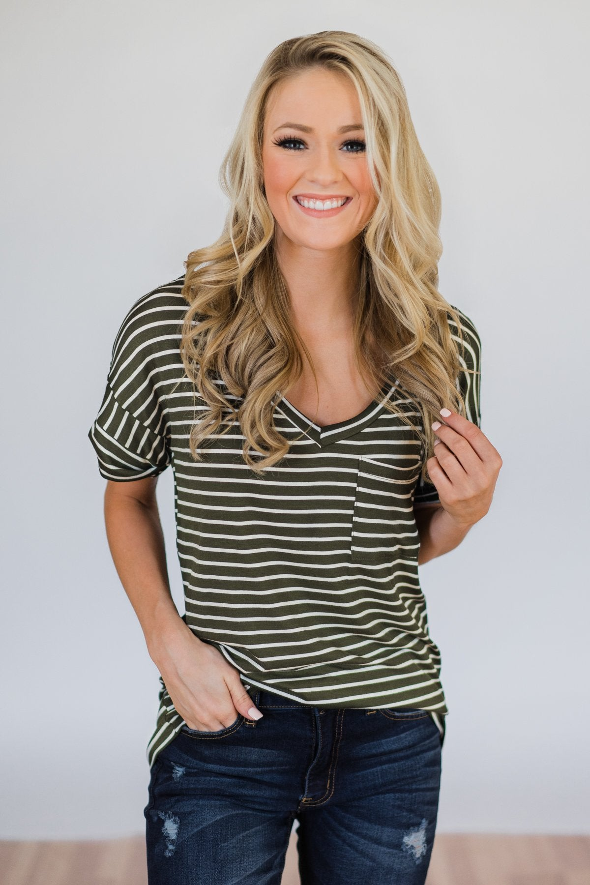 The Perfect Striped Pocket Tee- Olive & White