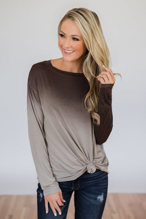 Taking it Easy Ombre Long Sleeve Top- Brown