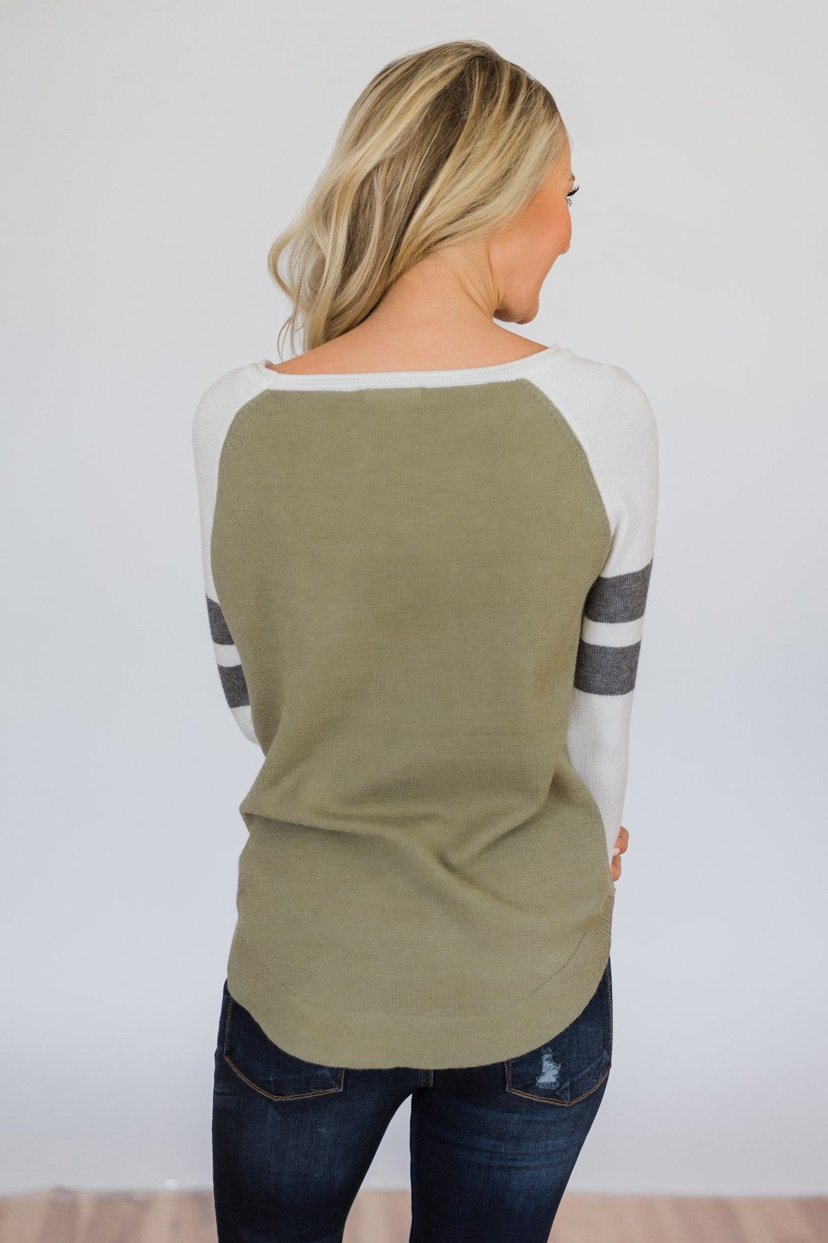 Comfy Color Block Pullover Sweater- Dark Sage