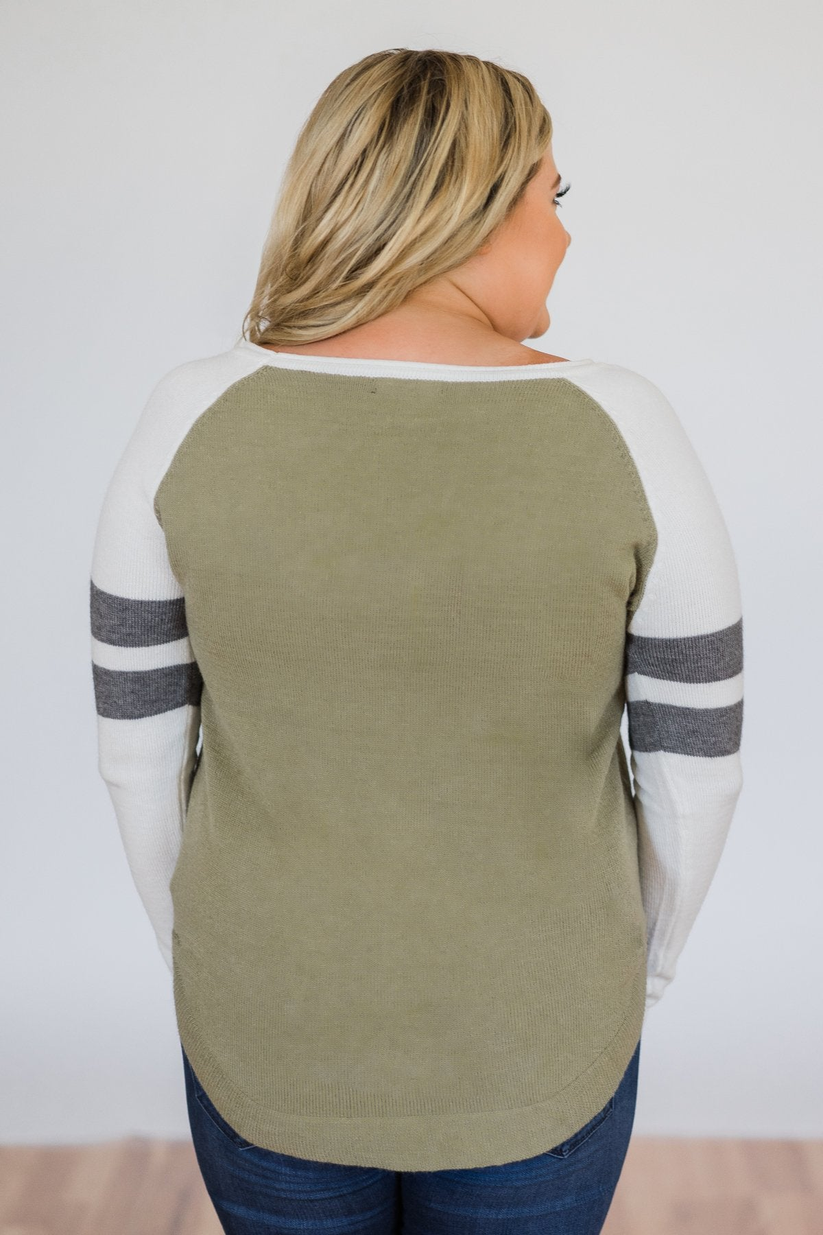 9b7f110bce Comfy Color Block Pullover Sweater- Dark Sage – The Pulse Boutique