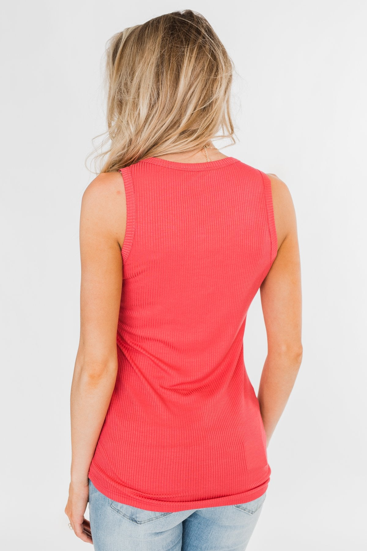 Hello Gorgeous Sequin Pocket Top- Dark Coral