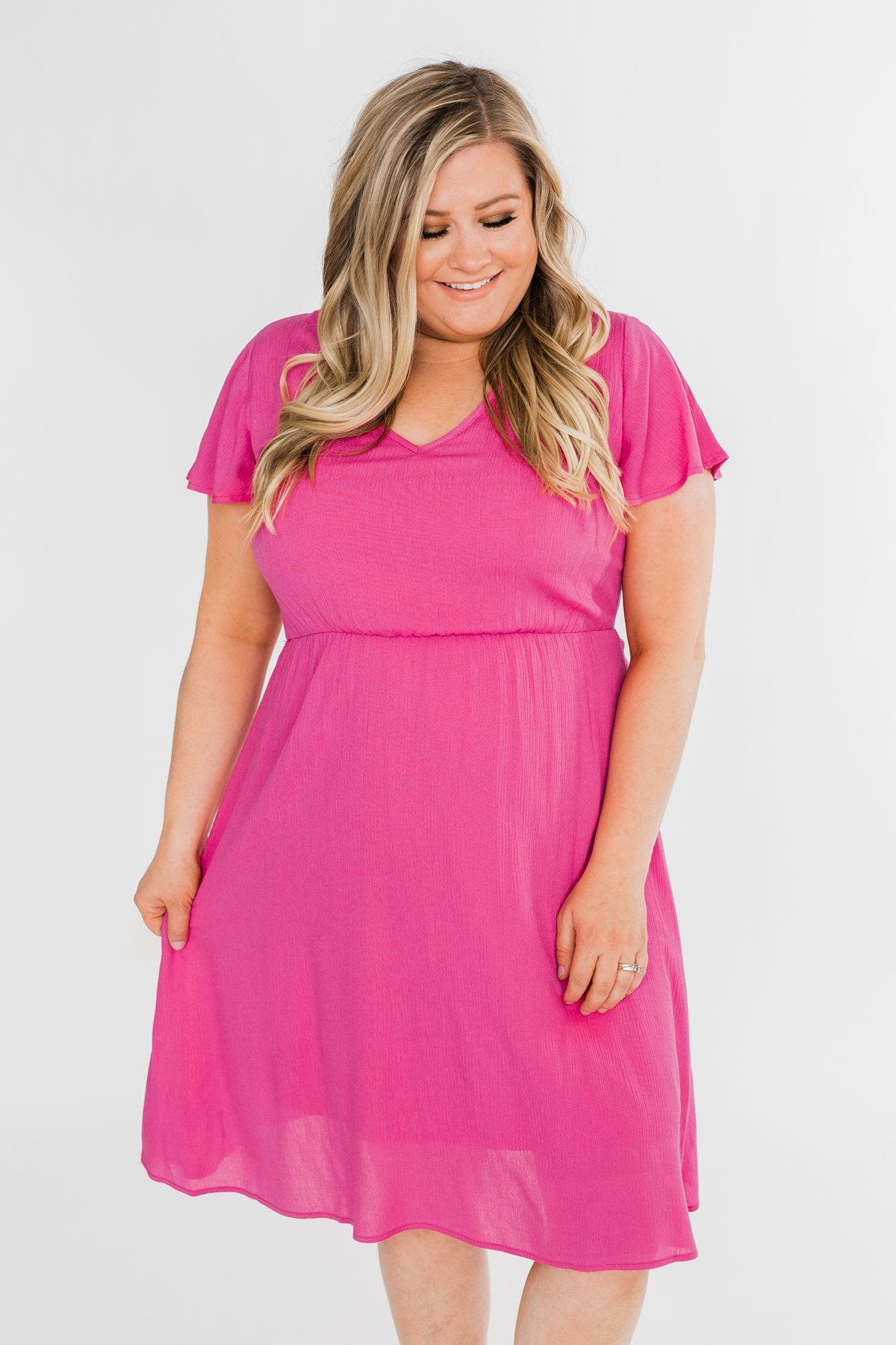 Here We Go Again Dress- Soft Magenta