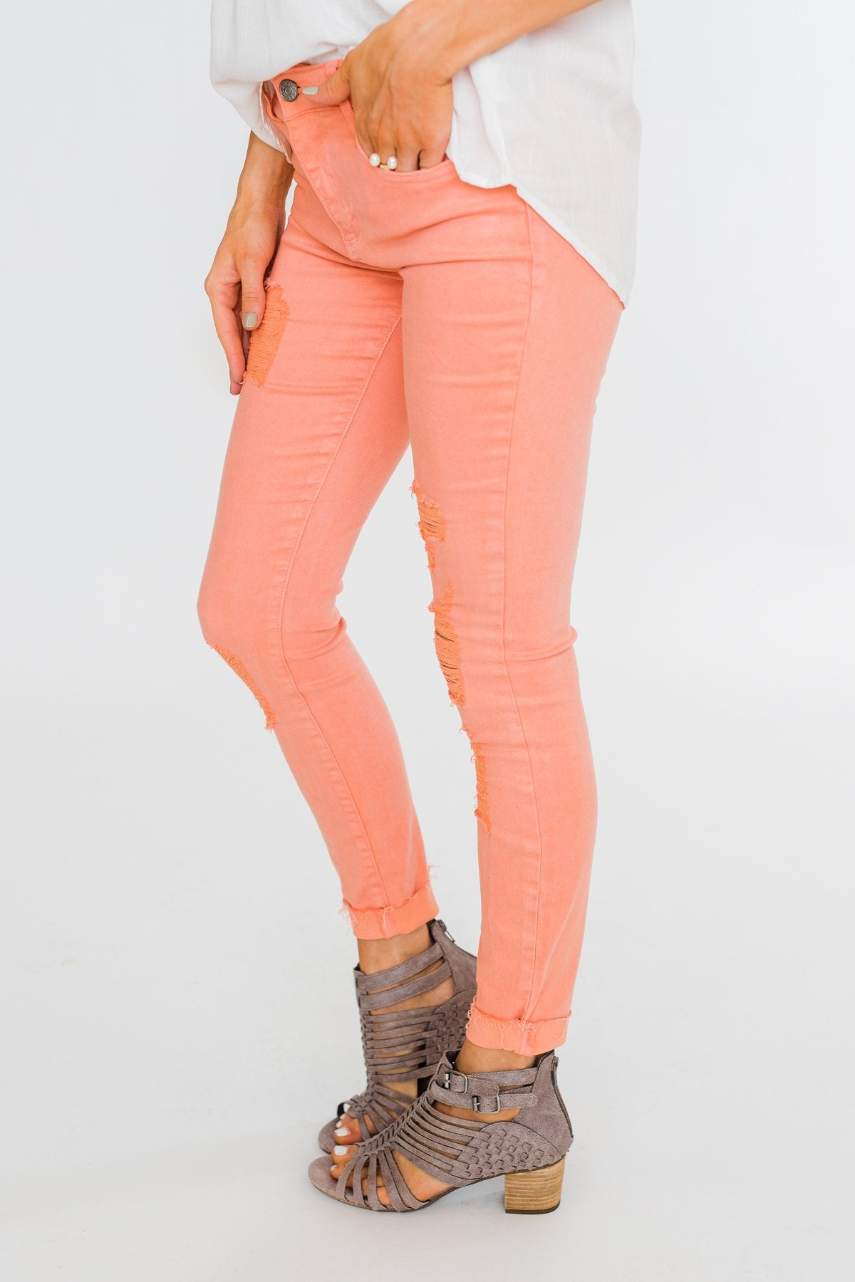 Cello Distressed Colored Skinny Jeans- Peach