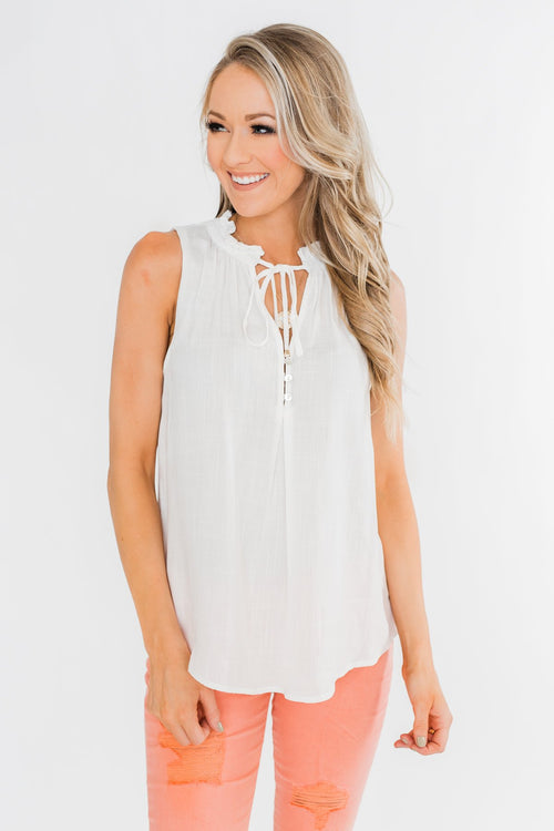 Larger Than Life Neck Tie Tank Top- Ivory