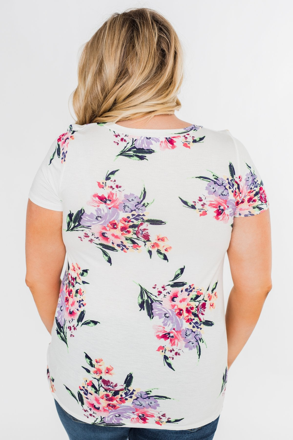 Take Your Time Floral Knot Top- White
