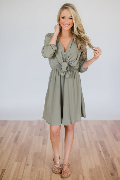 Calling Dibs Knot Dress- Sage Green