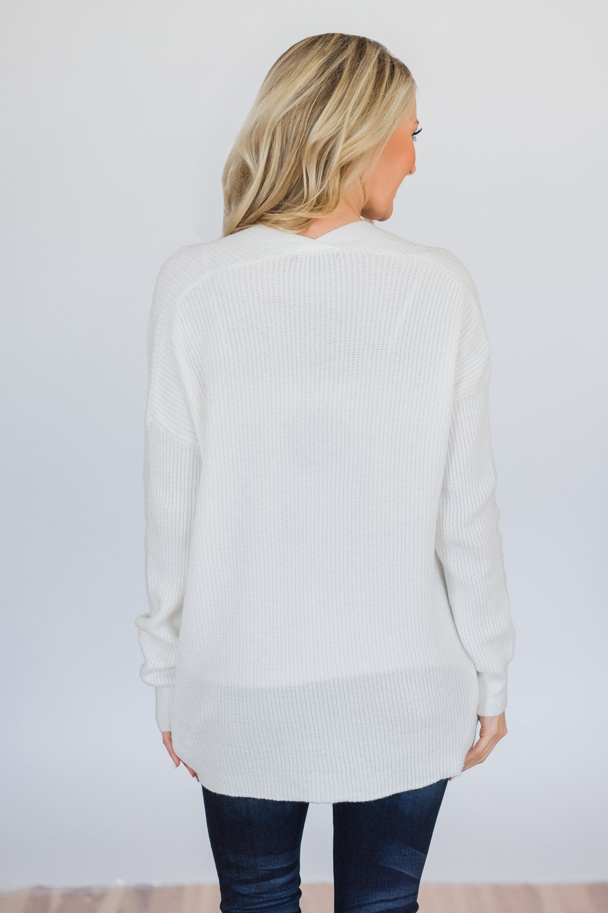 Knitted Pocket Cardigan- Ivory
