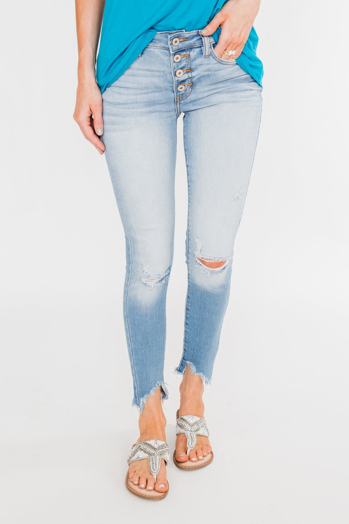 C'est Toi Distressed Ankle Cuff Skinnies- Jaci Wash