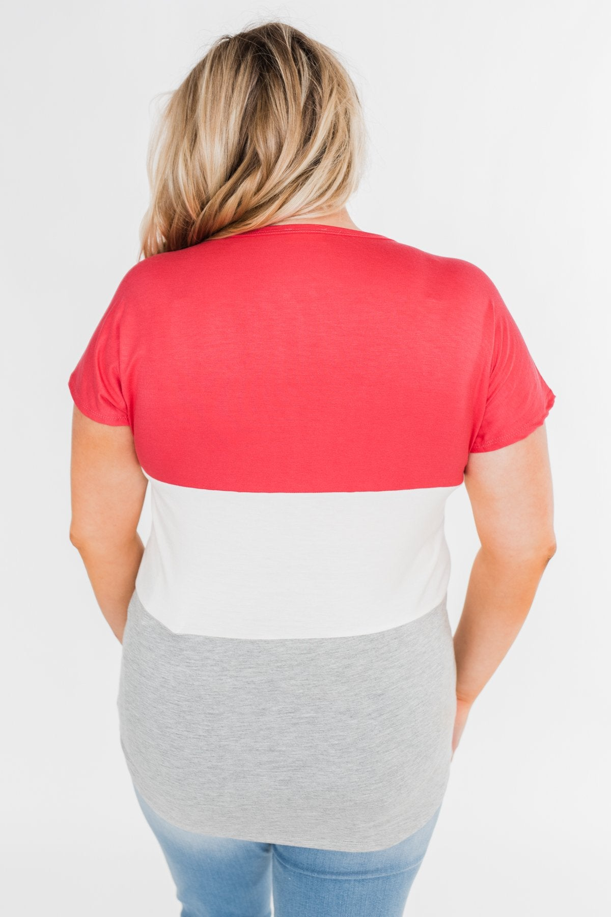 Right Here Criss Cross Color Block Top- Deep Coral